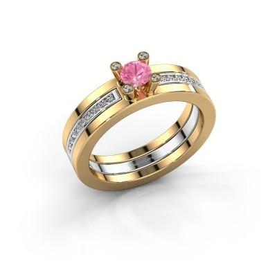 Foto van Ring Alisha 585 goud roze saffier 4 mm