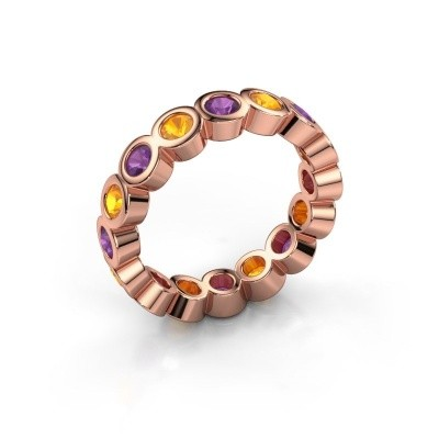 Stackable ring Edwina 3 375 rose gold amethyst 3 mm