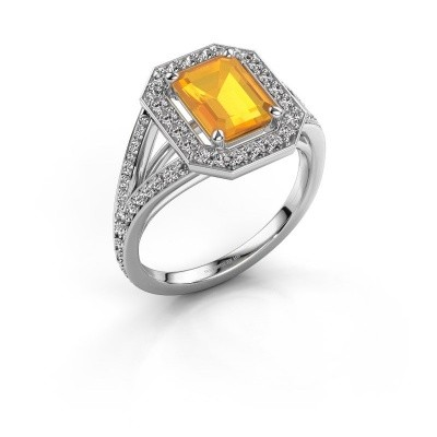 Promise ring Angelita EME 950 platina citrien 8x6 mm