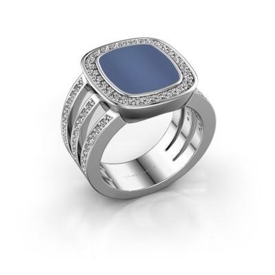 Foto van Zegelring Tijn 925 zilver blauw lagensteen 13x11 mm