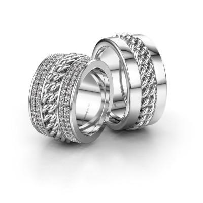 Foto van Huwelijksringen set WHR0081LM ±12x2.8 mm 14 karaat witgoud diamant 0.008 crt