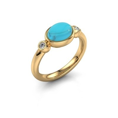 Ring Liane 585 goud blauw topaas 8x6 mm