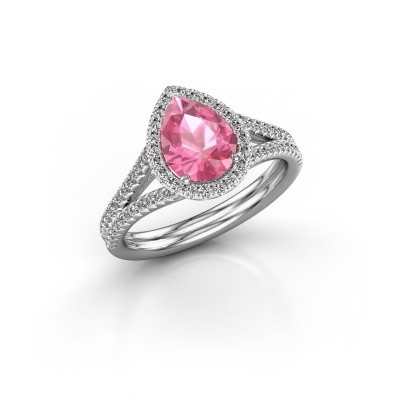 Foto van Verlovingsring Elenore 2 950 platina roze saffier 8x6 mm