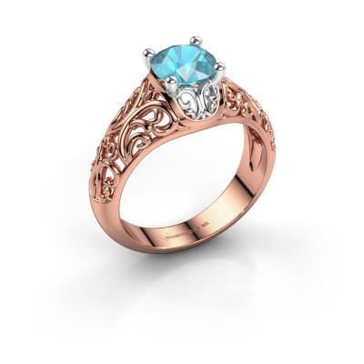 Ring Mirte 585 rosé goud blauw topaas 6.5 mm