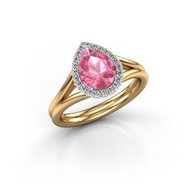 Foto van Verlovingsring Elenore 585 goud roze saffier 8x6 mm