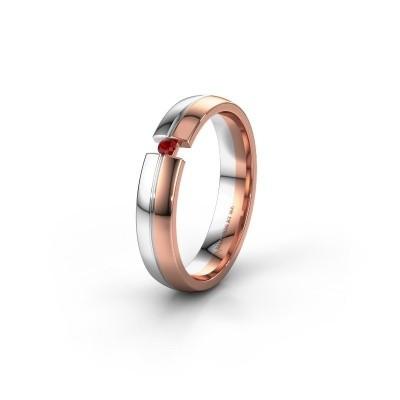 Trouwring WH0254L24X 585 rosé goud robijn ±4x1.5 mm