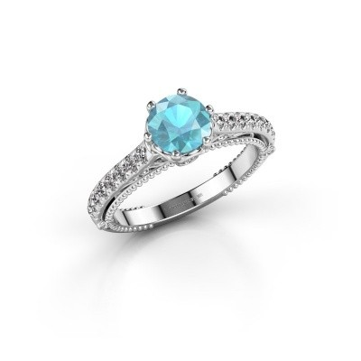 Engagement ring Venita 585 white gold blue topaz 6.5 mm