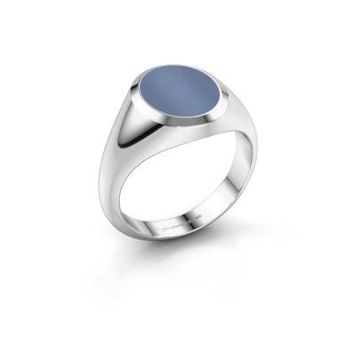 Zegelring Herman 2 375 witgoud licht blauwe lagensteen 12x10 mm