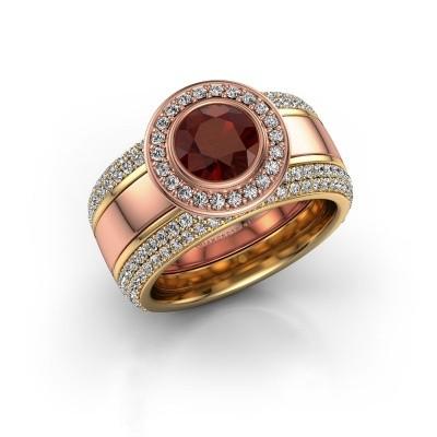 Foto van Ring Roxie 585 rosé goud granaat 6.5 mm