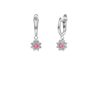 Drop earrings Camille 1 950 platinum pink sapphire 3 mm