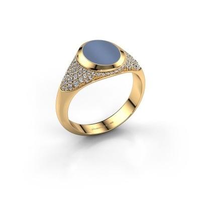 Foto van Pinkring Giovani 585 goud licht blauwe lagensteen 10x8 mm