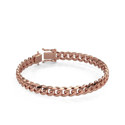 Cuban link armband ±8 mm 375 rosé goud