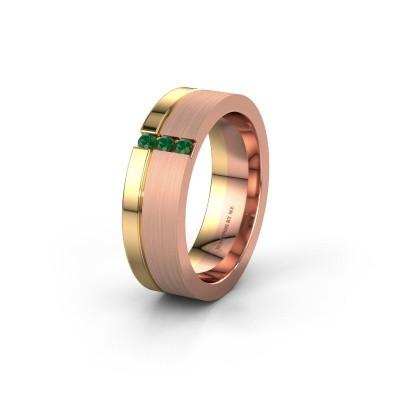 Trouwring WH0327L16B 585 rosé goud smaragd ±6x2 mm