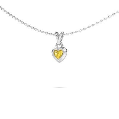 Photo de Pendentif Charlotte Heart 375 or blanc saphir jaune 4 mm