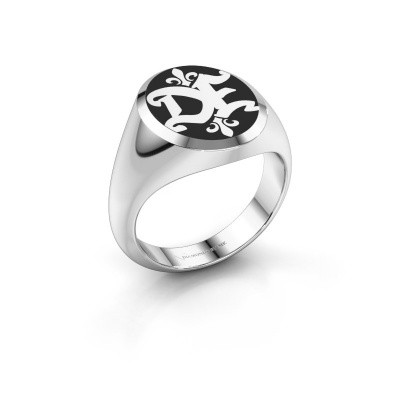 Monogram ring Xandro Emaille 950 platina zwarte emaille