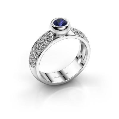 Foto van Ring Benthe 585 witgoud saffier 4 mm