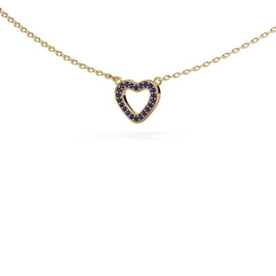 Hanger Heart 4 375 goud saffier 0.8 mm