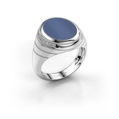 Foto van Zegelring Luuk 375 witgoud blauw lagensteen 15x12 mm