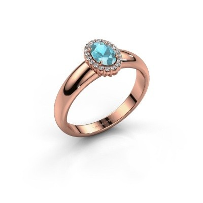 Engagement ring Tamie 375 rose gold blue topaz 6x4 mm