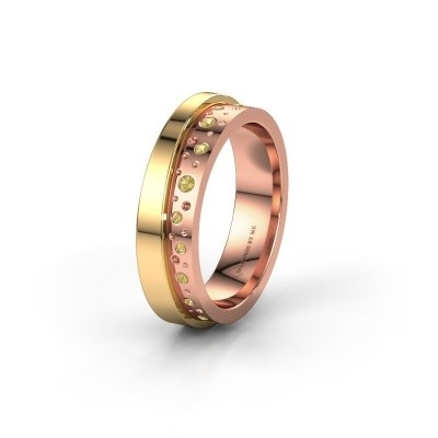 Wedding ring WH6016L15E 585 rose gold yellow sapphire ±0.20x0.1in
