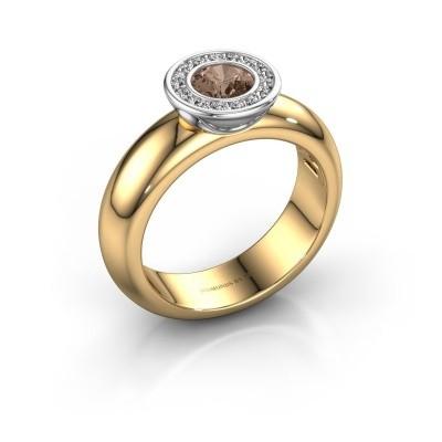 Bild von Steckring Anna 585 Gold Braun Diamant 0.635 crt