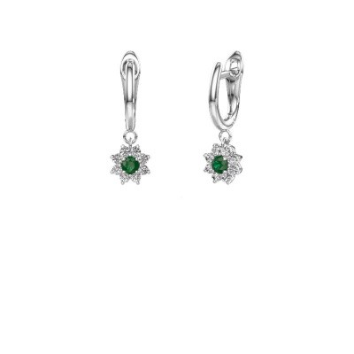 Oorhangers Camille 1 585 witgoud smaragd 3 mm