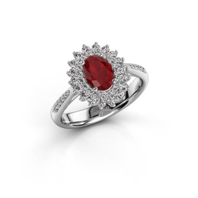 Photo de Bague de fiançailles Alina 2 585 or blanc rubis 7x5 mm