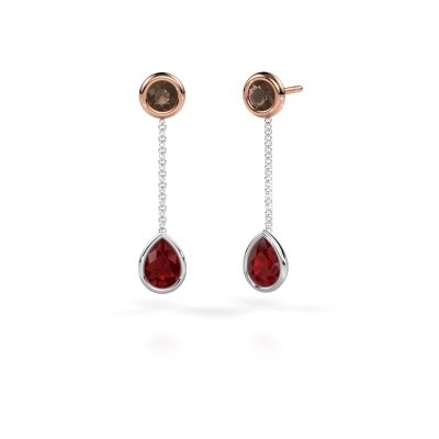 Picture of Drop earrings Ladawn 585 white gold ruby 7x5 mm