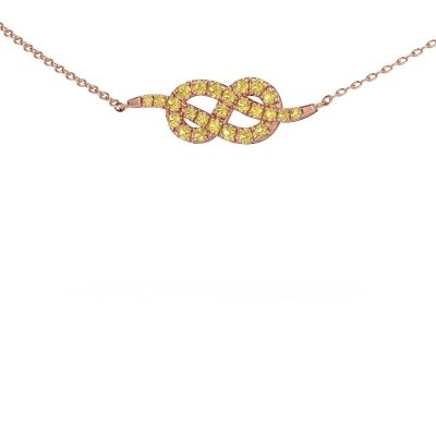Collier barre Infinity 1 375 or rose saphir jaune 1.1 mm