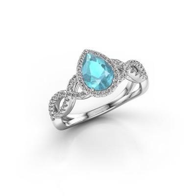 Foto van Verlovingsring Dionne 585 witgoud blauw topaas 7x5 mm
