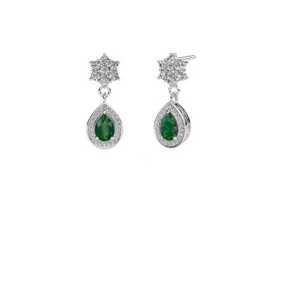 Drop earrings Era 375 white gold emerald 6x4 mm