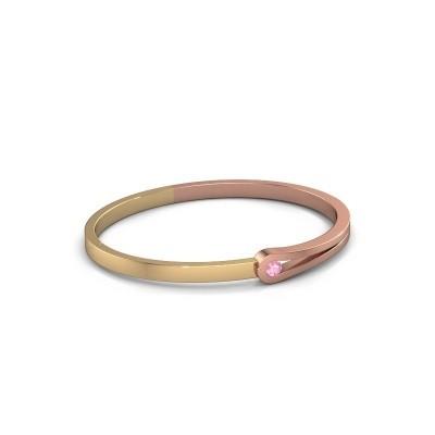 Slavenarmband Kiki 585 rosé goud roze saffier 4 mm