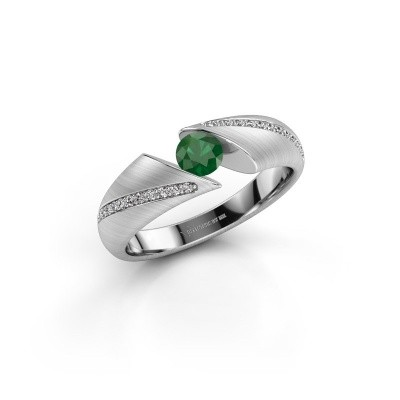 Foto van Verlovingsring Hojalien 2 585 witgoud smaragd 4.2 mm