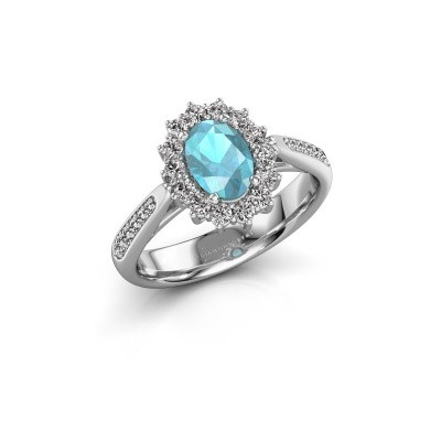 Engagement ring Margien 2 925 silver blue topaz 7x5 mm