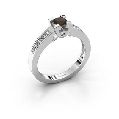 Verlovingsring Nina 2 950 platina rookkwarts 4.2 mm