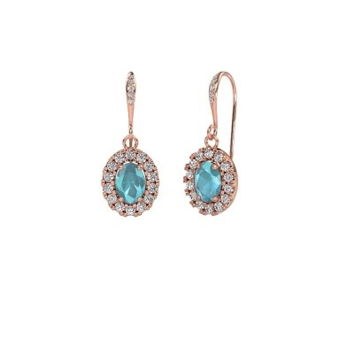 Picture of Drop earrings Jorinda 2 375 rose gold blue topaz 7x5 mm