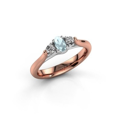 Verlovingsring Jente OVL 585 rosé goud aquamarijn 5x3 mm