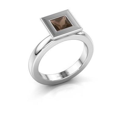 Stapelring Eloise Square 925 zilver rookkwarts 5 mm