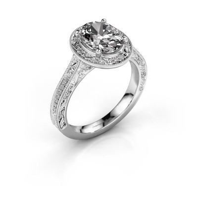 Engagement ring Alice OVL 925 silver diamond 0.905 crt