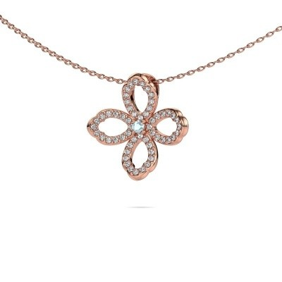 Picture of Necklace Chelsea 375 rose gold aquamarine 2 mm