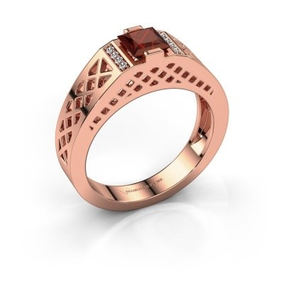 Foto van Heren ring Jonathan 375 rosé goud granaat 5 mm