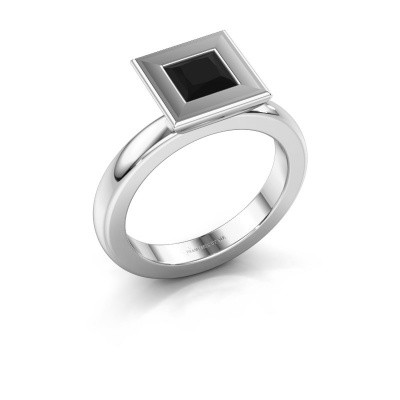 Stapelring Eloise Square 925 zilver zwarte diamant 0.936 crt