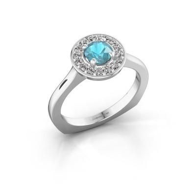 Foto van Ring Kanisha 1 950 platina blauw topaas 5 mm