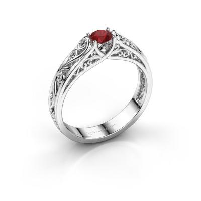 Foto van Ring Quinty 925 zilver robijn 4 mm