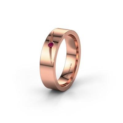Trouwring WH0170L15A 375 rosé goud rhodoliet ±5x1.7 mm