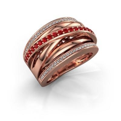 Foto van Ring Clair 2 585 rosé goud robijn 1.5 mm
