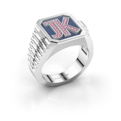 Picture of Signet ring Mike 585 white gold pink sapphire 1 mm