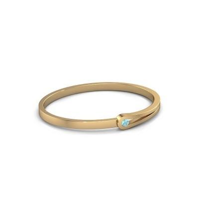 Bracelet jonc Kiki 585 or jaune topaze bleue 4 mm