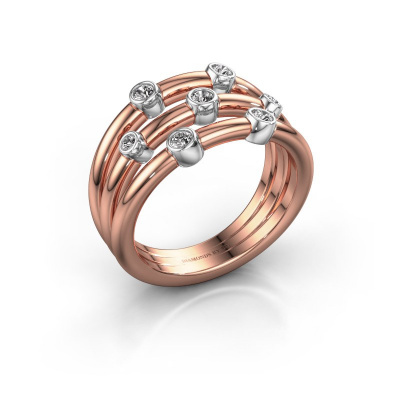 Bague Chloe 585 or rose diamant synthétique 0.18 crt