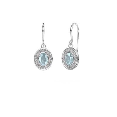Drop earrings Layne 1 950 platinum aquamarine 6.5x4.5 mm